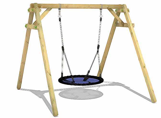 un portique de balançoire en bois